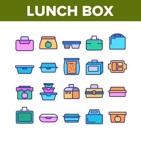 Lunch Box Collection Elements Icons Set Vector Thin Line. Plastic School Lunch Box And Container For Transportation Nutrition Concept Linear Pictograms. Color Illustrations