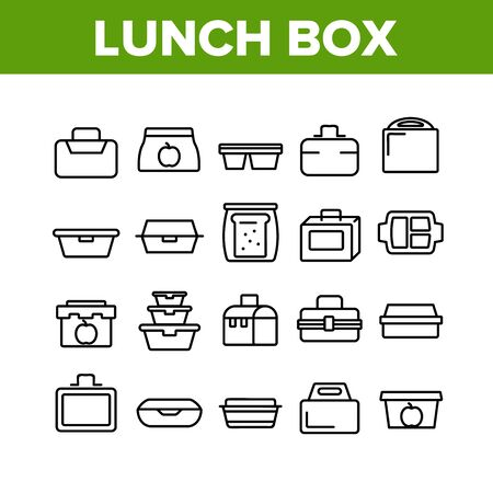 Lunch Box Collection Elements Icons Set Vector Thin Line. Plastic School Lunch Box And Container For Transportation Nutrition Concept Linear Pictograms. Monochrome Contour Illustrations