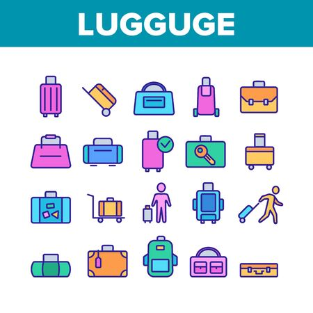 Luggage And Baggage Collection Icons Set Vector. Backpack And Handbag, Suitcase, And Briefcase, Messenger Bag, Trolley And Travel Luggage. Concept Linear Pictograms. Color Illustrations