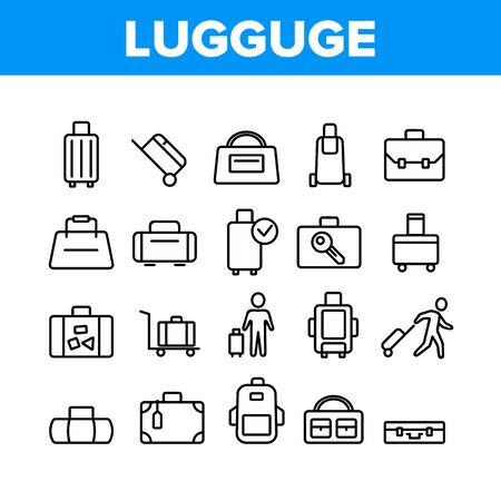 Luggage And Baggage Collection Icons Set Vector. Backpack And Handbag, Suitcase, And Briefcase, Messenger Bag, Trolley And Travel Luggage. Concept Linear Pictograms. Monochrome Contour Illustrations