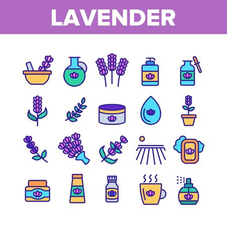 Lavender Collection Elements Icons Set Vector Thin Line. Lavender Flower And Drop, Container With Cosmetic Creme And Bottle With Perfume. Concept Linear Pictograms. Color Illustrations