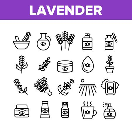 Lavender Collection Elements Icons Set Vector Thin Line. Lavender Flower And Drop, Container With Cosmetic Creme And Bottle With Perfume. Concept Linear Pictograms. Monochrome Contour Illustrations  イラスト・ベクター素材