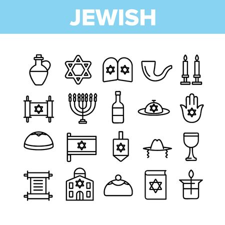 Jewish Israel Religion Collection Icons Set Vector Thin Line. Synagogue And Torah, Candle And Flag, Book And Dreidel, Jewish Religious Concept Linear Pictograms. Monochrome Contour Illustrations