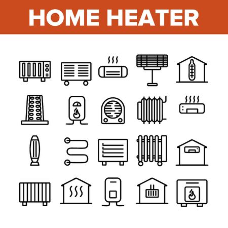 Home Heater Collection Elements Icons Set Vector Thin Line. Home Heater, Heating System Equipment, Radiator And Electric Warm Floor Concept Linear Pictograms. Monochrome Contour Illustrations