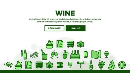 Wine Product Landing Web Page Header Banner Template Vector. Wine Bottle And Glasses, Barrel And Card, Cheese And Grape Concept Linear Pictograms. Vineyard Illustration  イラスト・ベクター素材