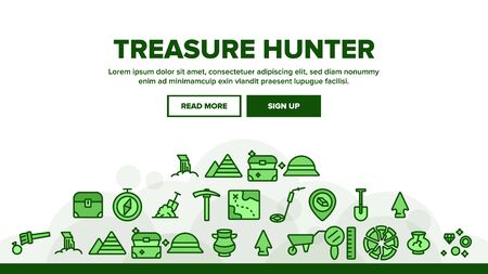 Treasure Hunter Landing Web Page Header Banner Template Vector. Map With Direction To Treasure, Compass And Miner Work Equipment Illustration Stock Illustratie