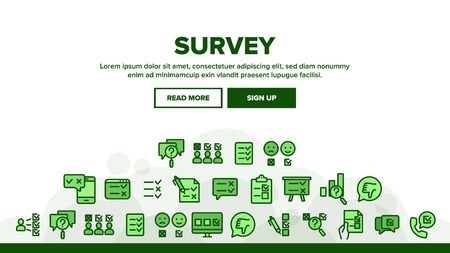 Survey Rating Landing Web Page Header Banner Template Vector. Client Survey Opinion Questionnaire, Online Test Quiz And Checklist Illustration  イラスト・ベクター素材
