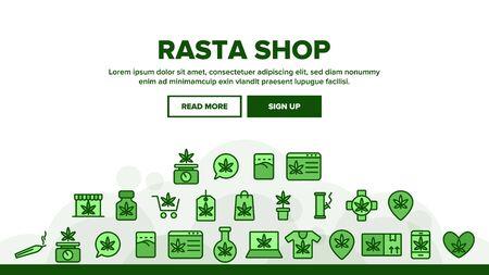Rasta Shop Landing Web Page Header Banner Template Vector. Rasta Marijuana Cannabis Leaf Bottle Container And Mobile Screen, Bag And Shirt Illustration  イラスト・ベクター素材