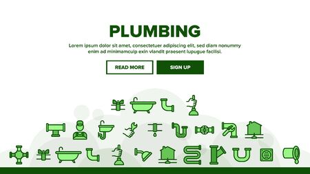Plumbing Landing Web Page Header Banner Template Vector. Bathroom Plumbing Accessories And Equipment Concept Linear Pictograms. Leaking Tube And Plumber Illustration