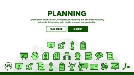 Planning Landing Web Page Header Banner Template Vector. Chess Figures And Presentation, Mechanism Gears And Presenting Strategic Planning Illustration