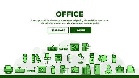 Office Job Landing Web Page Header Banner Template Vector. Office Chair And Lamp, File Folder And Paper Clip, Building And Manager Illustration
