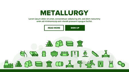 Metallurgy Landing Web Page Header Banner Template Vector. Steel And Metal Tube Metallurgy Production Illustration  イラスト・ベクター素材
