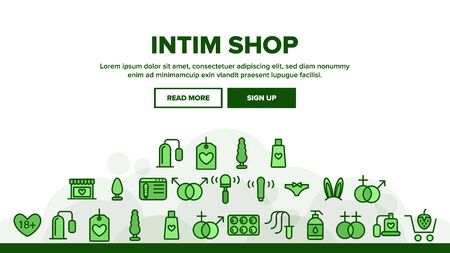 Intim Shop Landing Web Page Header Banner Template Vector. Contraception And Different Intim Devices, Bunny Ears And Sexy Panties Illustration