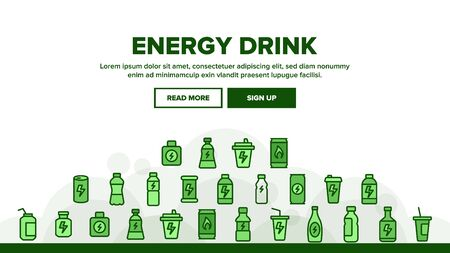 Energy Drink Landing Web Page Header Banner Template Vector. Energy Beverage In Plastic And Metallic Bottle, Glass And Aluminum Container Illustration  イラスト・ベクター素材