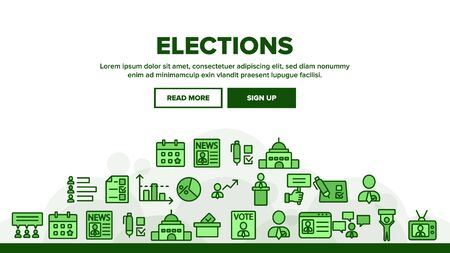 Elections Landing Web Page Header Banner Template Vector. Candidate And President, Newspaper And Tablet, Building And Elections Graph Illustration