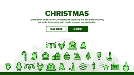 Christmas Landing Web Page Header Banner Template Vector. Christmas Presents And Toys, Pine Tree And Snowman, Fireworks And Deer Silhouette Illustration