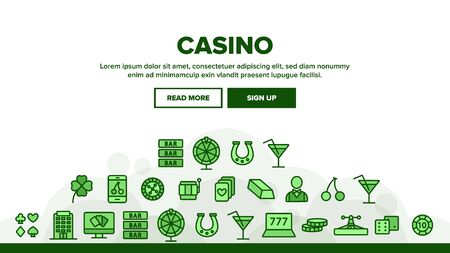 Casino Landing Web Page Header Banner Template Vector. Casino Chip And Cards, Smartphone and Laptop, Roulette And Dealer Illustration
