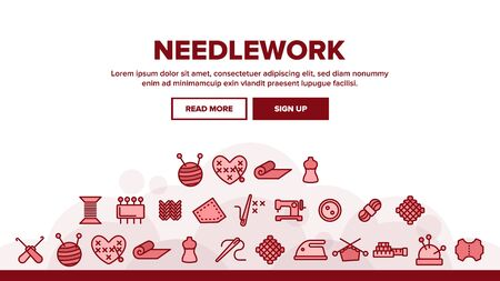 Needlework Landing Web Page Header Banner Template Vector. Pin And Button, Needle And Spool, Meter And Dummy Needlework Tools And Details Illustration