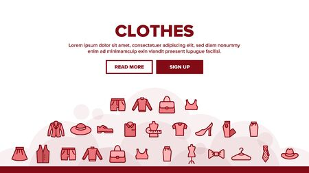 Fashion And Clothes Landing Web Page Header Banner Template Vector. Shoes, Hat, Clothing Varieties And Accessories Clothes Assortment Illustration