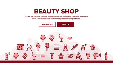 Beauty Shop Landing Web Page Header Banner Template Vector. Fan And Mirror, Perfume And Nail Polish, Chair And Scissors Equipment For Beauty Illustration Ilustração