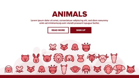 Animals Landing Web Page Header Banner Template Vector. Bear And Rabbit, Pig And Cow, Elephant And Lion, Monkey And Horse Animals Illustration Foto de archivo - 133684918