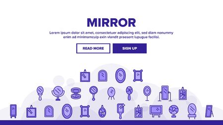 Mirror Different Form Landing Web Page Header Banner Template Vector. Broken And New, Ancient And Modern, Hand And Wall Mirror Illustration Ilustração