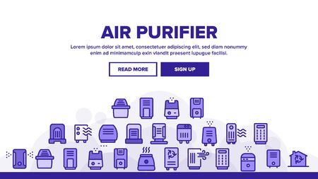 Air Purifier Devices Landing Web Page Header Banner Template Vector. Electronic Appliance Air Purifier And Ionizer Illustration