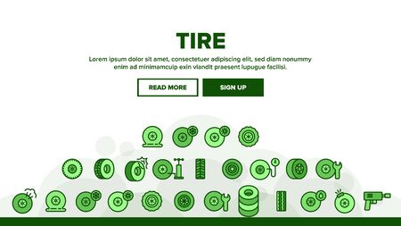 Tire Wheel Landing Web Page Header Banner Template Vector. Low Pressure, Equipment For Repair Tire And Break Illustration  イラスト・ベクター素材