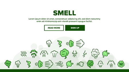 Smell Cloud Landing Web Page Header Banner Template Vector. Smell Of Cooking Food Vapour Smoke, Gas Steam And Human Smelling Illustration