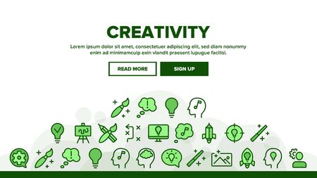 Creativity Landing Web Page Header Banner Template Vector. Brainstorming And Idea, Lightbulb In Human Hand And Target, Creativity Illustration