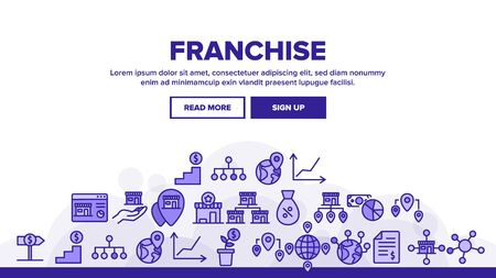 Franchise Landing Web Page Header Banner Template Vector. Home Office And Corporate Headquarters, Globe With Gps Mark And Web Site Franchise Illustration