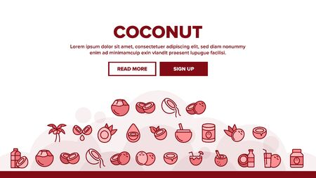 Coconut Food Landing Web Page Header Banner Template Vector. Coconut Milk And Oil, Tropical Palm And Drink, Beverage And Exotic Cocktail Illustration Çizim