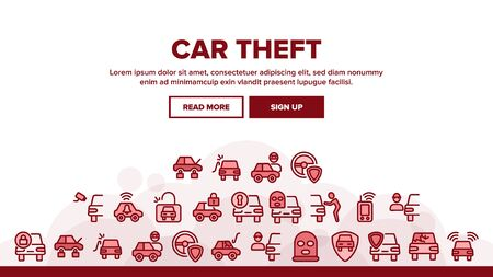 Car Theft Landing Web Page Header Banner Template Vector. Man Silhouette In Mask, Car With Broken Glass And Without Wheels, Alarm And Camera Illustration Standard-Bild - 133684986