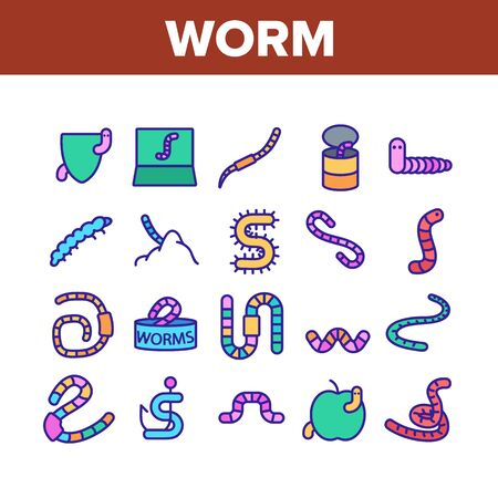 Worm Insect Animal Collection Icons Set Vector Thin Line. Worm In Apple And Bait On Fishing Hook, On Shield And In Container Concept Linear Pictograms. Color Contour Illustrations