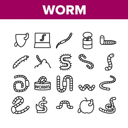 Worm Insect Animal Collection Icons Set Vector Thin Line. Worm In Apple And Bait On Fishing Hook, On Shield And In Container Concept Linear Pictograms. Monochrome Contour Illustrations