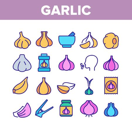 Garlic Spicy Vegetable Collection Icons Set Vector Thin Line. Smell From Mouth And Garlic Press, Organic Plant And Bottle With Spice Concept Linear Pictograms. Color Contour Illustrations