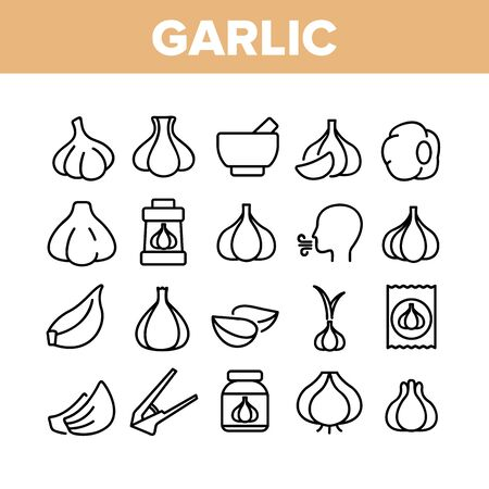 Garlic Spicy Vegetable Collection Icons Set Vector Thin Line. Smell From Mouth And Garlic Press, Organic Plant And Bottle With Spice Concept Linear Pictograms. Monochrome Contour Illustrations Ilustrace