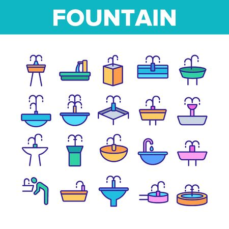 Drinking Fountain Collection Icons Set Vector Thin Line. Different Type Of Decorative Public Fountain With Purified Drink Water Concept Linear Pictograms. Color Contour Illustrations