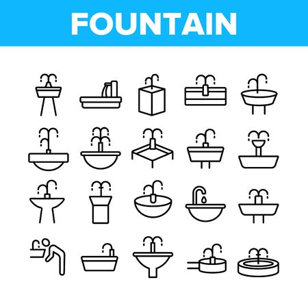 Drinking Fountain Collection Icons Set Vector Thin Line. Different Type Of Decorative Public Fountain With Purified Drink Water Concept Linear Pictograms. Monochrome Contour Illustrations