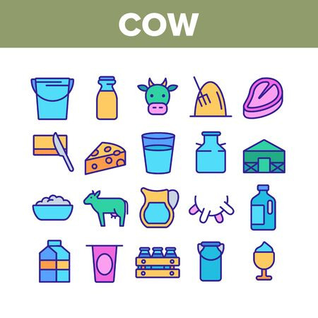 Cow Farming Animal Collection Icons Set Vector Thin Line. Cow Meat Steak And Head, Milk Cup And Bottle, Cheese And Butter With Knife Concept Linear Pictograms. Color Contour Illustrations