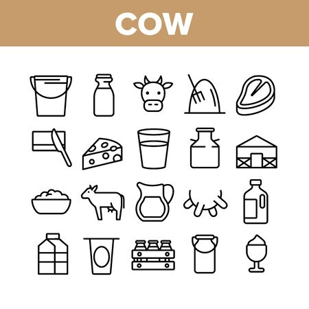 Cow Farming Animal Collection Icons Set Vector Thin Line. Cow Meat Steak And Head, Milk Cup And Bottle, Cheese And Butter With Knife Concept Linear Pictograms. Monochrome Contour Illustrations