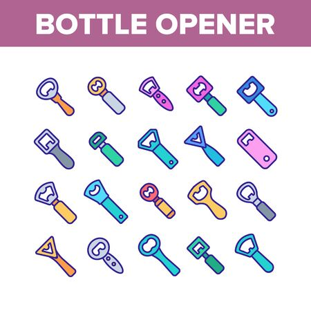 Bottle Opener Collection Elements Icons Set Vector Thin Line. Different Style Metal Cap Container Opener, Bar And Kitchen Utensil Concept Linear Pictograms. Color Contour Illustrations Standard-Bild - 133685017