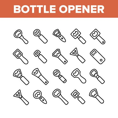 Bottle Opener Collection Elements Icons Set Vector Thin Line. Different Style Metal Cap Container Opener, Bar And Kitchen Utensil Concept Linear Pictograms. Monochrome Contour Illustrations