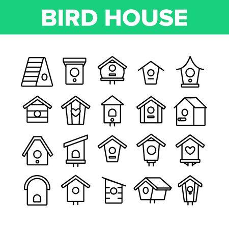 Bird House Collection Elements Icons Set Vector Fine Line. Maison d'oiseau en bois de style différent, abri pour se nicher sur des pictogrammes linéaires de concept d'arbre. Illustrations de contours monochromes