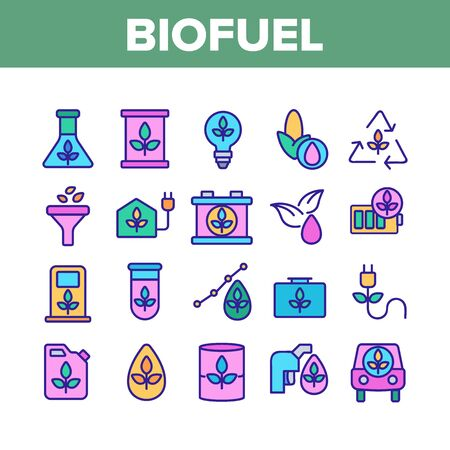 Biofuel Eco Energy Collection Icons Set Vector Thin Line. Rechargeable Battery Power, Electric Biofuel Car And Recycling Light Bulb Concept Linear Pictograms. Color Contour Illustrations 向量圖像