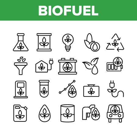 Biofuel Eco Energy Collection Icons Set Vector Thin Line. Rechargeable Battery Power, Electric Biofuel Car And Recycling Light Bulb Concept Linear Pictograms. Monochrome Contour Illustrations
