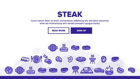 Meat Steak Landing Web Page Header Banner Template Vector. Steak And Ribs, Bonfire And Gas, Fried Beef And Barbecue Bbq, Spices And Grill Illustration
