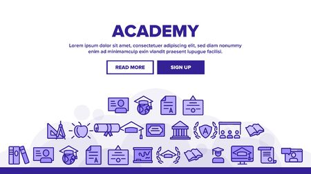 Academy Study Landing Web Page Header Banner Template Vector. Graduation Cap And Diploma, College Building And Online Education In Academy Illustration Ilustracja