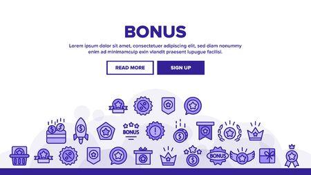 Bonus Loyalty Landing Web Page Header Banner Template Vector. Dollar Mark On Rocket, Coins And Credit Card, Present Box And Crown Bonus Illustration