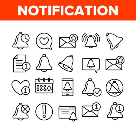 Notification Collection Elements Icons Set Vector Thin Line. Ring Bell And Mail Message, Document File And Calendar Notification Concept Linear Pictograms. Monochrome Contour Illustrations Illusztráció